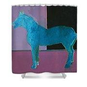 Horse, Blue On Lavender Shower Curtain