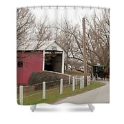 Horse Buggy And Covered Bridge Shower Curtain