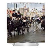 Horse Drawn Carriages And Women On Horseback Riding Sidesaddle O Shower Curtain