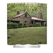 Horse Grazing In The Yard Of A Mountain Shower Curtain