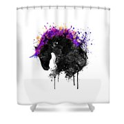 Horse Head Watercolor Silhouette Shower Curtain