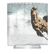 Horse In The Storm - Parallel Hatching Shower Curtain