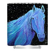 Horse-midnight Snow Shower Curtain