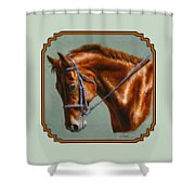 Horse Painting - Focus Shower Curtain by Crista Forest