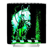 Horse Painting Jumper No Faults Black Blue And Green Shower Curtain