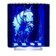 Horse Painting Jumper No Faults Blue Shower Curtain