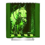 Horse Painting Jumper No Faults Deep Greens Shower Curtain