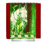 Horse Painting Jumper No Faults Green With Reds Shower Curtain