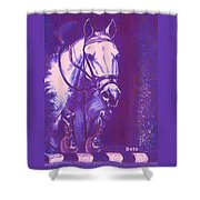 Horse Painting Jumper No Faults Lavender Shower Curtain