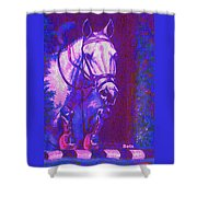 Horse Painting Jumper No Faults Purple And Blue Shower Curtain