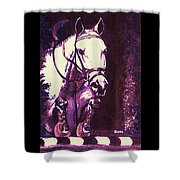 Horse Painting Jumper No Faults Purple Shower Curtain