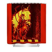Horse Painting Jumper No Faults Reds Shower Curtain