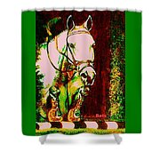 Horse Painting Jumper No Faults Reds Greens Shower Curtain