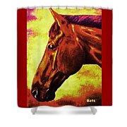 horse portrait PRINCETON purple brown yellow Shower Curtain