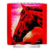 horse portrait PRINCETON red hot Shower Curtain