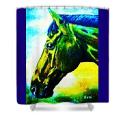 horse portrait PRINCETON vibrant yellow and blue Shower Curtain