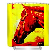 horse portrait PRINCETON yellow and red Shower Curtain