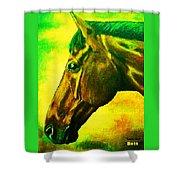 horse portrait PRINCETON yellow green Shower Curtain