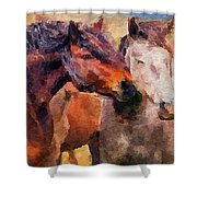 Horse Snuggle Shower Curtain