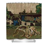 Horse Statue In The Field 1 Shower Curtain