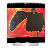 Horse With Crow And Snake At Sunset Shower Curtain