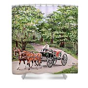 Horses And Wagon Shower Curtain