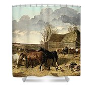Horses Eating From A Manger, With Pigs And Chickens In A Farmyard Shower Curtain
