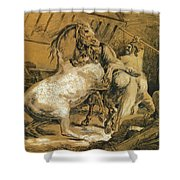 Horses Fighting In A Stable Shower Curtain