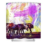 Horses Flock Pasture Animal  Shower Curtain