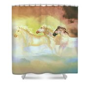 Horses In A Pearly Mist Shower Curtain