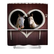 Horses In Stable Shower Curtain