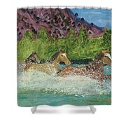 Horses In Stream Shower Curtain