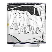Horses On A Snowy Evening Shower Curtain