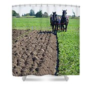 Horses Plowing Rows  Shower Curtain