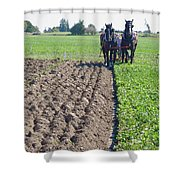 Horses Plowing Rows Two  Shower Curtain