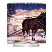 Horses Pulling Log Shower Curtain