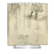 Horses Riders And A Young Man Shower Curtain