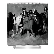Horses Stampede 01 Shower Curtain
