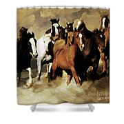 Horses Stampede 091 Shower Curtain