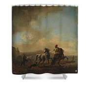 Horses Startled By A Dog Ca Shower Curtain