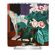 Horses With Floral Shower Curtain
