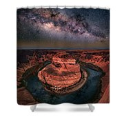 Horseshoe Bend With Milkyway Shower Curtain