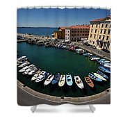 Horseshoe Pattern Of Moored Boats At The Inner Harbour Of Piran  Shower Curtain
