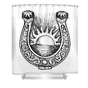 Horseshoe Sun And Sea Tattoo Shower Curtain