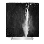 Horsetail Falls Yosemite Black And White Shower Curtain