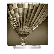 Hot Air Balloon And Bucket In Sepia Tone Shower Curtain