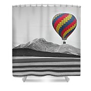 Hot Air Balloon And Longs Peak - Black White And Color Shower Curtain