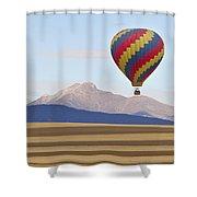 Hot Air Balloon And Longs Peak Shower Curtain