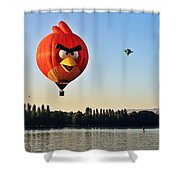 Hot Air Balloon Confronts Stand Up Paddleboarder Shower Curtain
