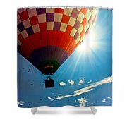 Hot Air Balloon Eclipsing The Sun Shower Curtain